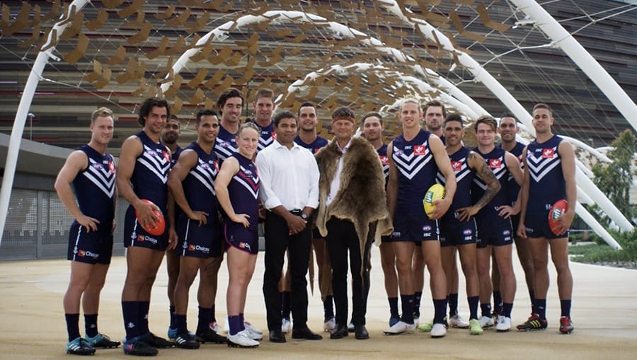 Frame from Fremantle Football Club Welcome to Country Video.