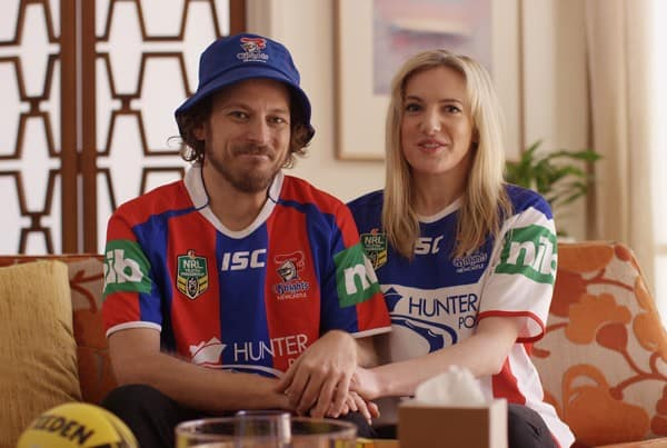Frame from NRL Counsellor sport comedy video content piece.