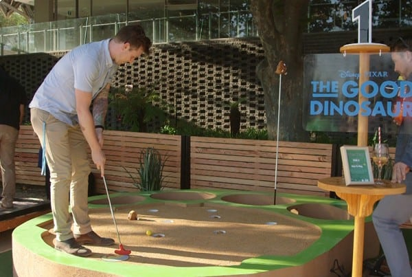 Still from Disney Pixar Putt Pop-Up Mini Golf event video.