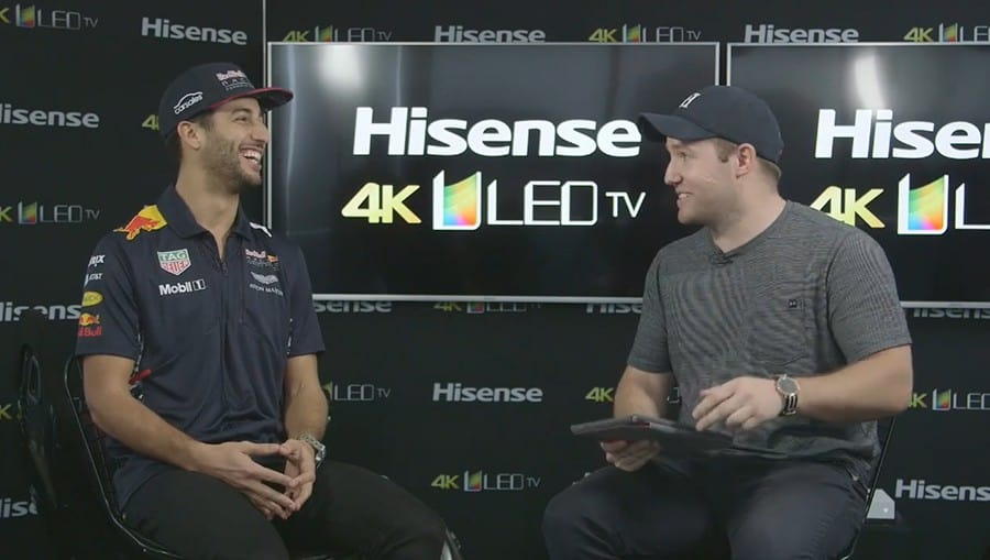 Still from Daniel Ricciardo video interview from live video streaming event for Red Bull and Hisense.