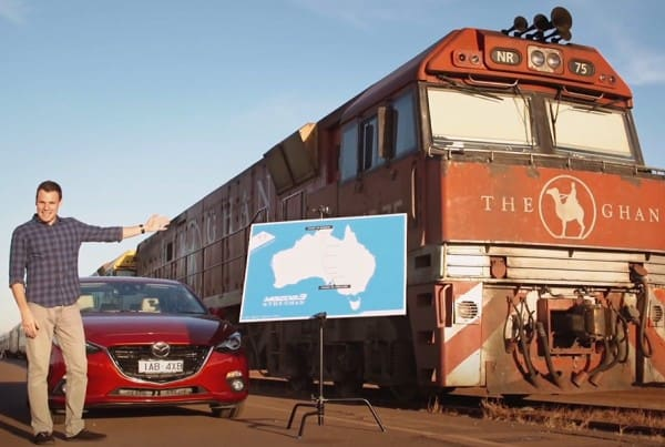 Still from Mazda Vs The Ghan branded video series.