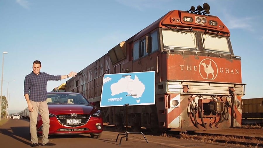 Still from Mazda Vs The Ghan branded video series episode 1.